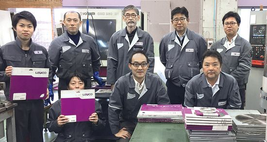 <strong>Team at Kansai branch:</strong>Front row (sitting) f.l.t.r: Mr. Takagi (Construction material manager), Mr. Arisaka (Sales manager), Mr. Tabata (Sales)