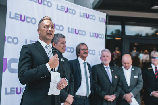 The Managing Director of Leuco Tool, Jens Schulz, Daniel Schrenk (Managing Director LEUCO Sales and Marketing) and Frank Diez (Chairman of the Management Board of LEUCO), from left to right, speak at the opening ceremony.