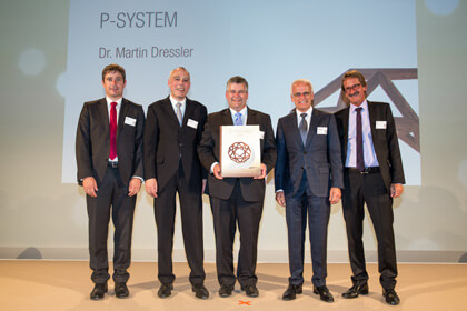 Awarded: Daniel Schrenk (LEUCO CEO, Sales and Marketing), Jury member Dr. Manfred Brandstetter, award winner Dr. Martin Dressler, Gerald Schweighofer, chairman of the LEUCO executive board Frank Diez, from left